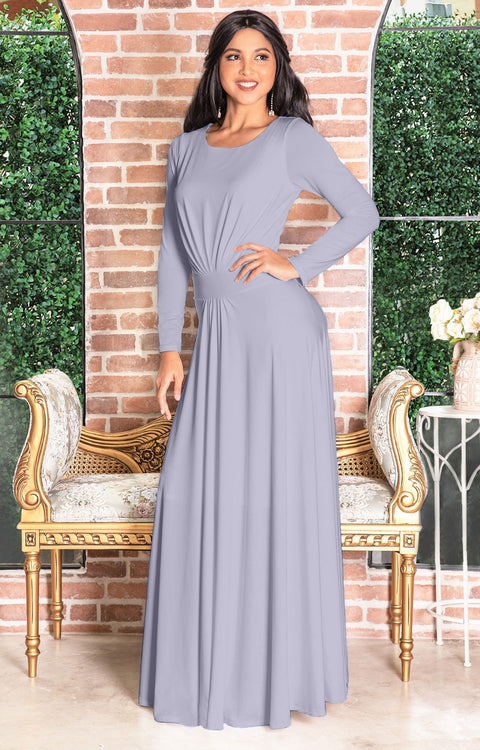 HAYDEN - Long Sleeve Maxi Dress Floor Length Gown Bridesmaid Fall