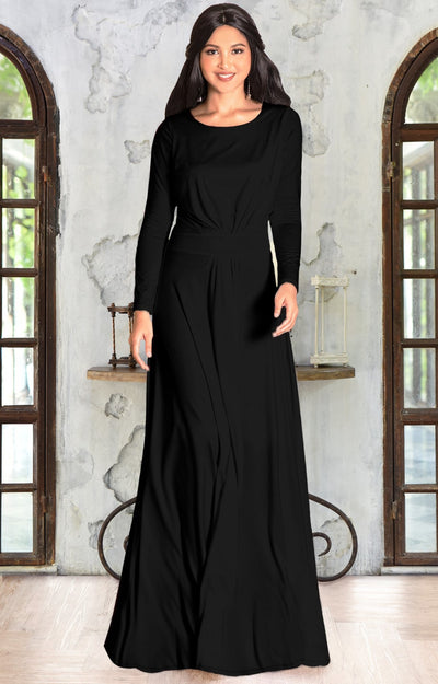 HAYDEN - Long Sleeve Maxi Dress Floor Length Gown Bridesmaid Fall - Black / 2X Large