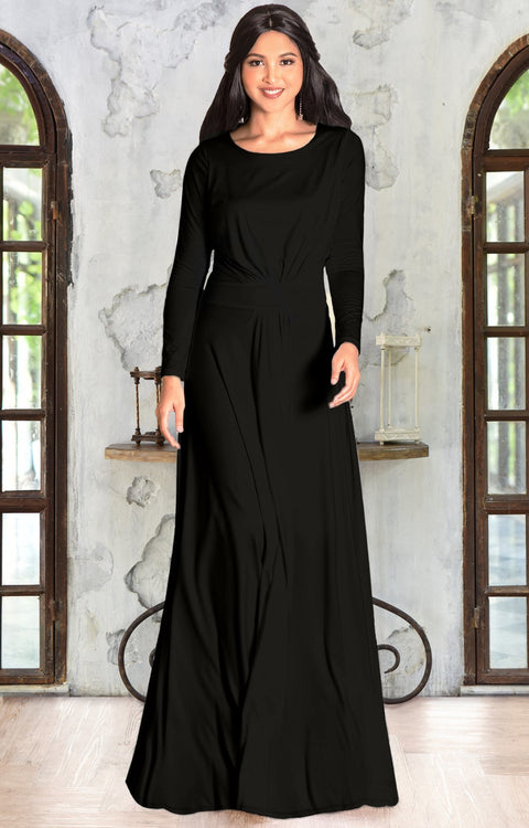 HAYDEN - Long Sleeve Maxi Dress Floor Length Gown Bridesmaid Fall - Black & Bronze Sheen / Extra Small