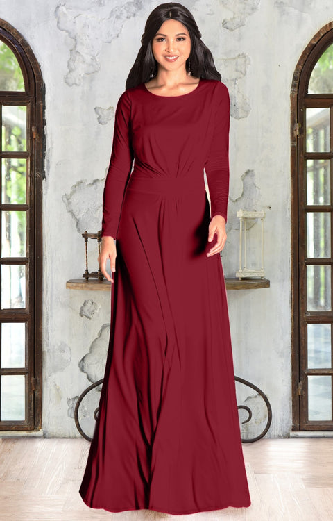 HAYDEN - Long Sleeve Maxi Dress Floor Length Gown Bridesmaid Fall - Crimson Dark Red / 2X Large