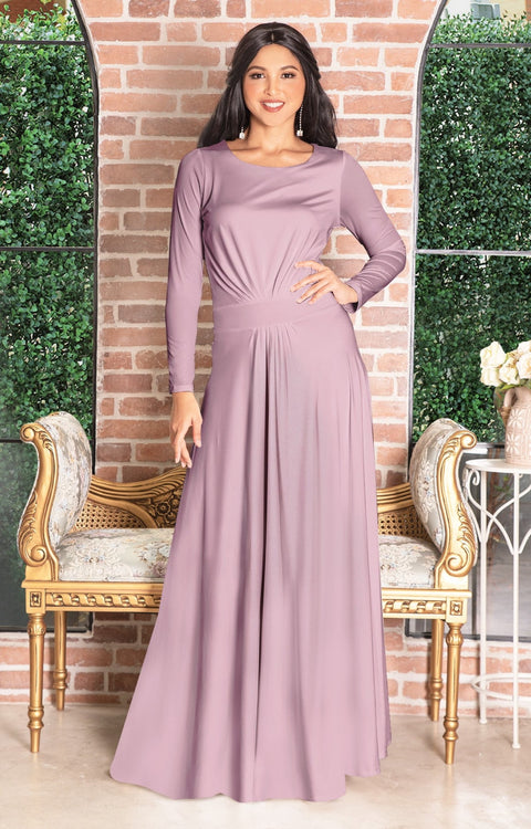 HAYDEN - Long Sleeve Maxi Dress Floor Length Gown Bridesmaid Fall - Dusty Pink / 2X Large