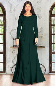 HAYDEN - Long Sleeve Maxi Dress Floor Length Gown Bridesmaid Fall - Emerald Green / 2X Large