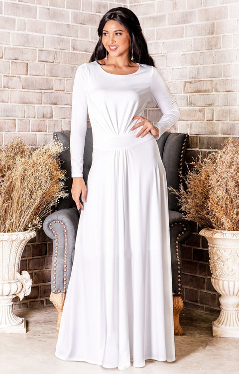 HAYDEN - Long Sleeve Maxi Dress Floor Length Gown Bridesmaid Fall - Ivory White / 2X Large
