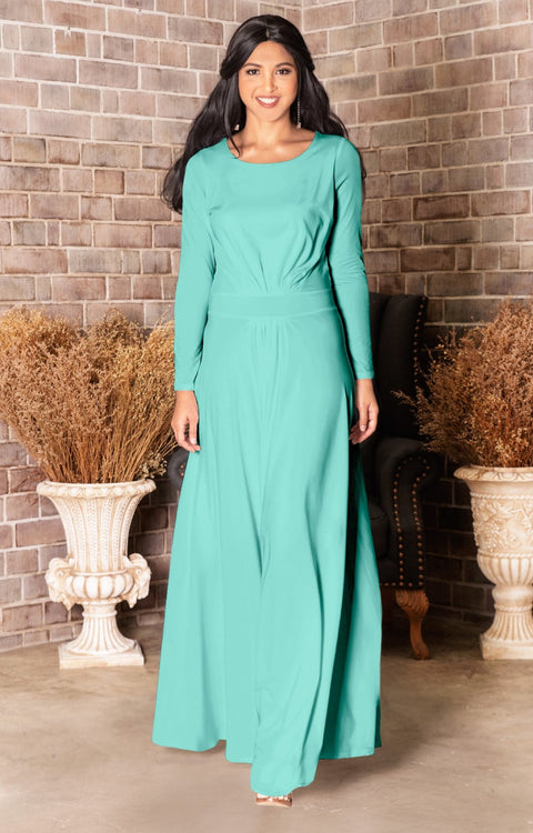 HAYDEN - Long Sleeve Maxi Dress Floor Length Gown Bridesmaid Fall - Light Mint Green / Extra Small