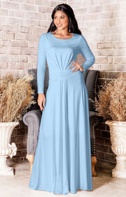 HAYDEN - Long Sleeve Maxi Dress Floor Length Gown Bridesmaid Fall - Powder Light Blue / Small