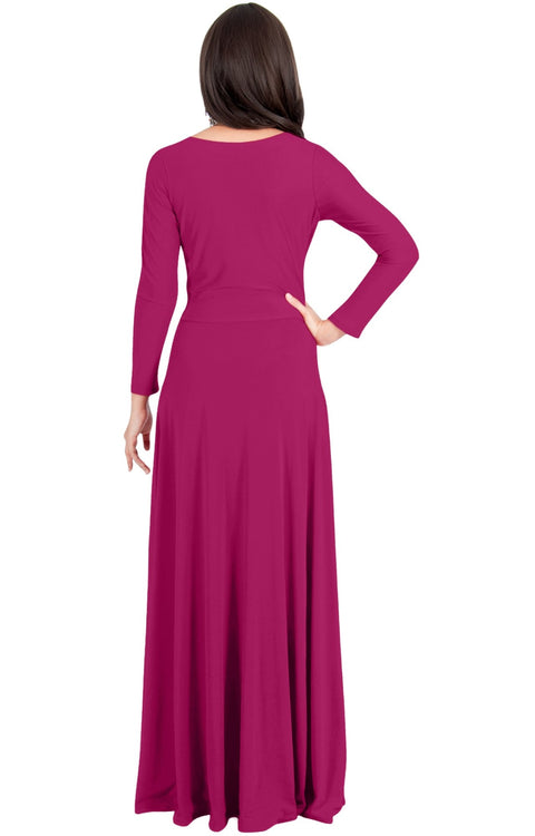 HAYDEN - Womens Long Sleeve Full Figure Classy Evening Maxi Dress Gown