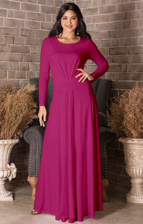 HAYDEN - Womens Long Sleeve Full Figure Classy Evening Maxi Dress Gown - Fuchsia Magenta Pink / Extra Small
