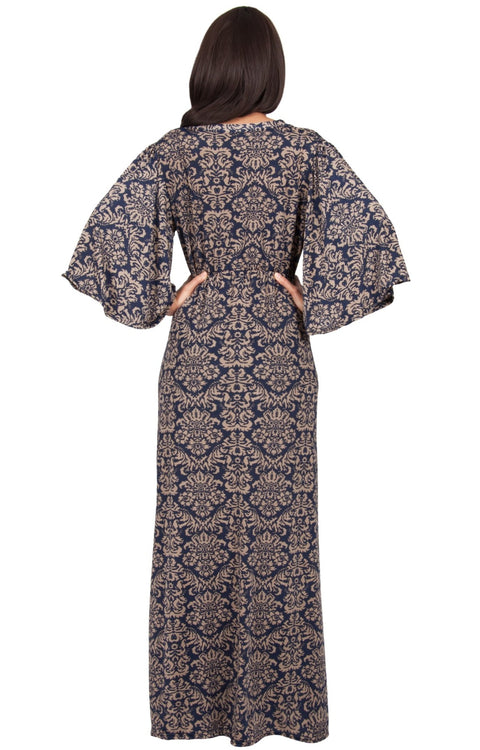 HAZEL - V-Neck Kimono Sleeve Cocktail Long Maxi Dress