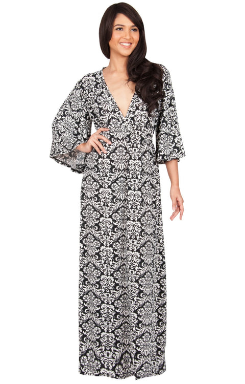 HAZEL - V-Neck Kimono Sleeve Cocktail Long Maxi Dress - Black & White / Medium