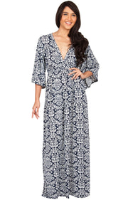 HAZEL - V-Neck Kimono Sleeve Cocktail Long Maxi Dress - Navy Blue & White / Medium