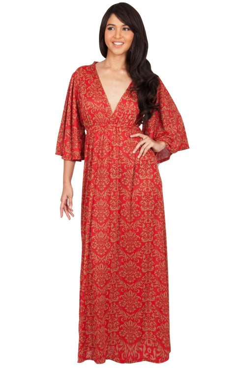 HAZEL - V-Neck Kimono Sleeve Cocktail Long Maxi Dress - Red & Beige / Medium