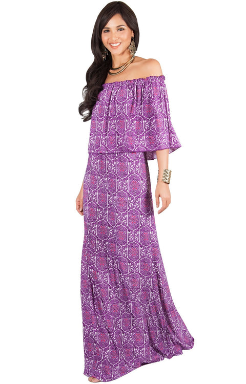 HEIDI - Off Shoulder Bohemian Flowy Printed Maxi Dress