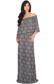 HEIDI - Off Shoulder Bohemian Flowy Printed Maxi Dress - Black / Medium