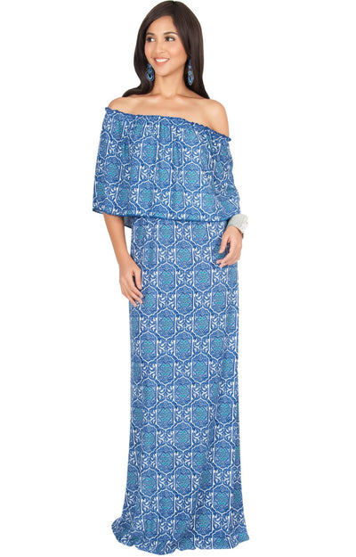 HEIDI - Off Shoulder Bohemian Flowy Printed Maxi Dress - Cobalt Royal Blue / Small