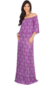 HEIDI - Off Shoulder Bohemian Flowy Printed Maxi Dress - Purple / Medium