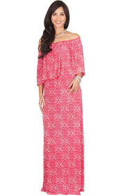 HEIDI - Off Shoulder Bohemian Flowy Printed Maxi Dress - Red / Medium