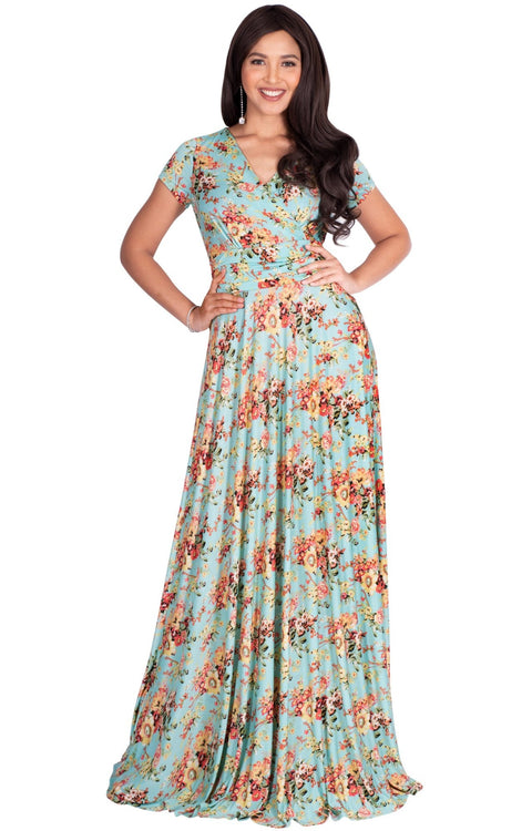 ISABELLA - Long Cap Sleeve Floral Print Flowy Maxi Dress Summer Gown