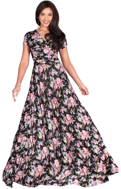ISABELLA - Long Cap Sleeve Floral Print Flowy Maxi Dress Summer Gown - Black & Pink / Extra Small