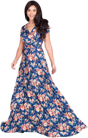 ISABELLA - Long Cap Sleeve Floral Print Flowy Maxi Dress Summer Gown - Blue & Yellow / Extra Small