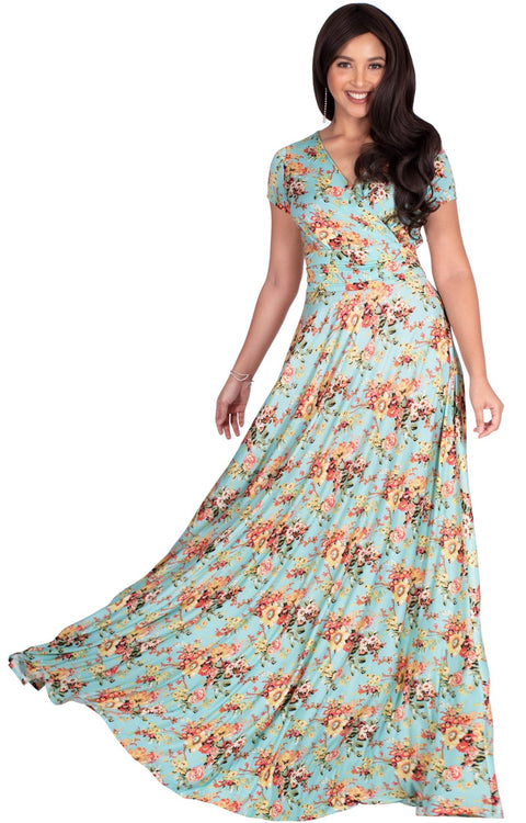 ISABELLA - Long Cap Sleeve Floral Print Flowy Maxi Dress Summer Gown - Green & Yellow & Pink / Extra Small