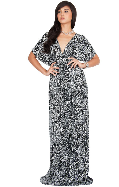 ISLA - Kimono V-Neck Summer Floral Casual Maxi Dress - Black & White / 2X Large