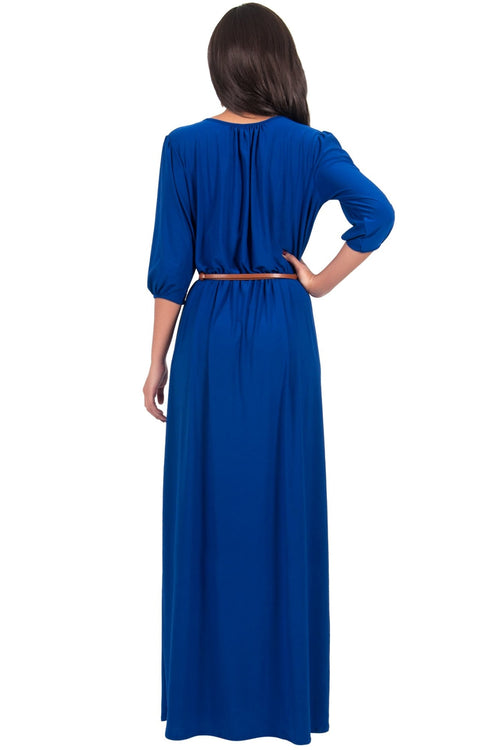 IVY - Long 3/4 Sleeve Pleated Dressy Modest Peasant Maxi Dress Gown