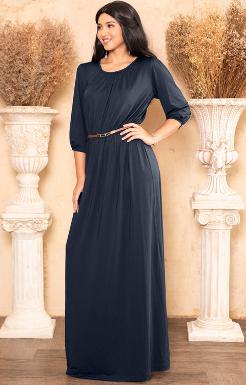 369aa64cf520 IVY - Long 3 4 Sleeve Pleated Dressy Modest Peasant Maxi Dress Gown ...
