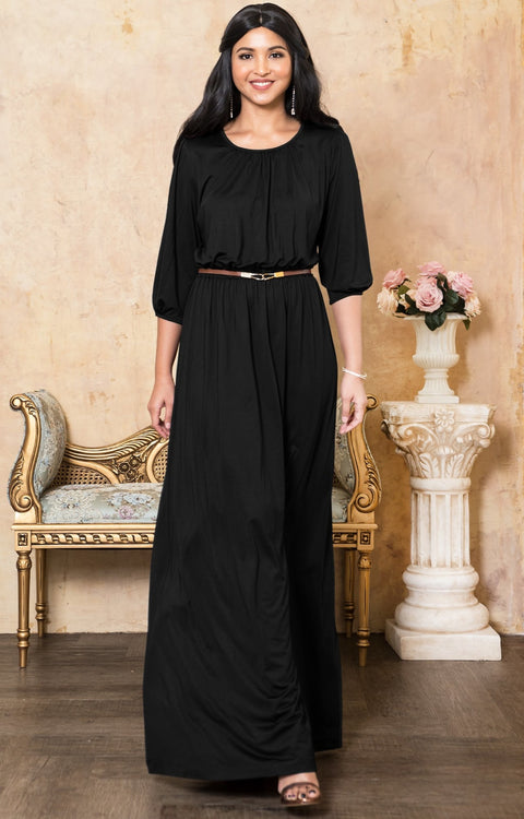 IVY - Long 3/4 Sleeve Pleated Dressy Modest Peasant Maxi Dress Gown - Black / 2X Large