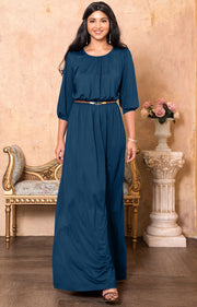 IVY - Long 3/4 Sleeve Pleated Dressy Modest Peasant Maxi Dress Gown - Blue Teal / 2X Large