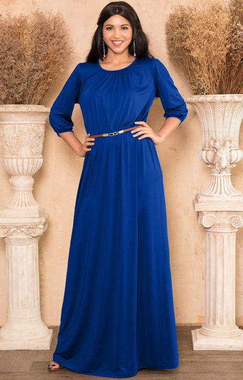 IVY - Long 3/4 Sleeve Pleated Dressy Modest Peasant Maxi Dress Gown - Cobalt Royal Blue / Small