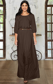 IVY - Long 3/4 Sleeve Pleated Dressy Modest Peasant Maxi Dress Gown - Dark Brown / 2X Large