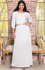IVY - Long 3/4 Sleeve Pleated Dressy Modest Peasant Maxi Dress Gown - Ivory White / 2X Large