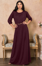 IVY - Long 3/4 Sleeve Pleated Dressy Modest Peasant Maxi Dress Gown - Maroon Wine Red / 2X Large