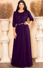 IVY - Long 3/4 Sleeve Pleated Dressy Modest Peasant Maxi Dress Gown - Purple / 2X Large