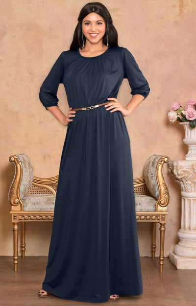 12040175d5f29 IVY - Long 3/4 Sleeve Pleated Dressy Modest Peasant Maxi Dress Gown - Dark