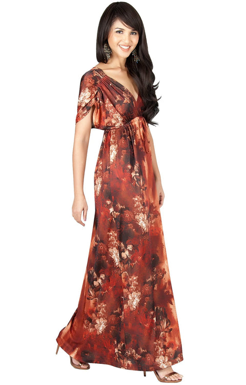 JANE - Printed Flowy Summer Casual V-Neck Maxi Dress
