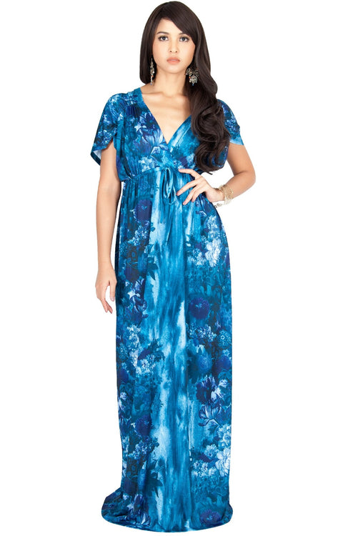 JANE - Printed Flowy Summer Casual V-Neck Maxi Dress - Blue Gray / 2X Large