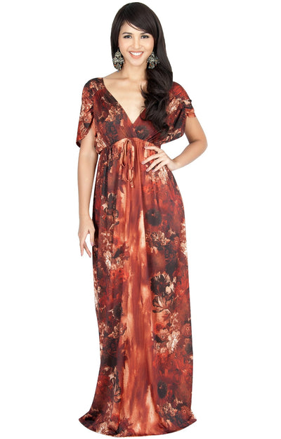 JANE - Printed Flowy Summer Casual V-Neck Maxi Dress - Brown Latte / Small