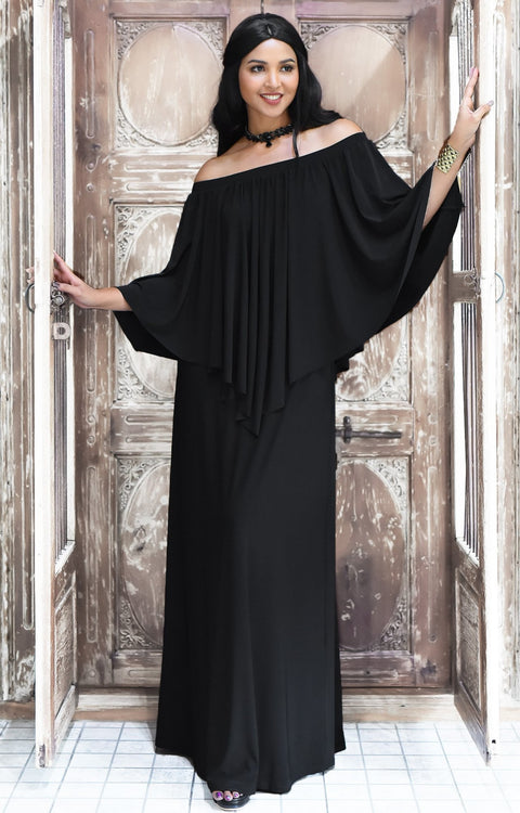 JENN - Maxi Dress Long Sexy Strapless Flowy Cocktail Evening Gown - Black / 2X Large