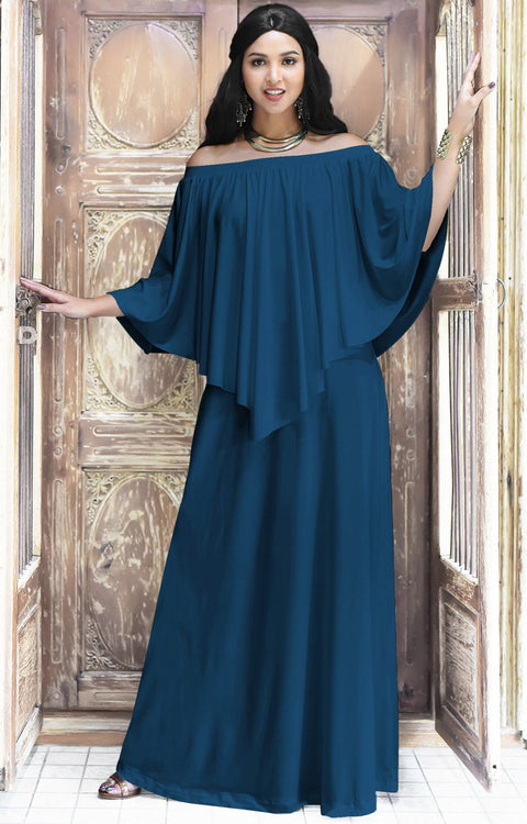 JENN - Maxi Dress Long Sexy Strapless Flowy Cocktail Evening Gown - Blue Teal / 2X Large