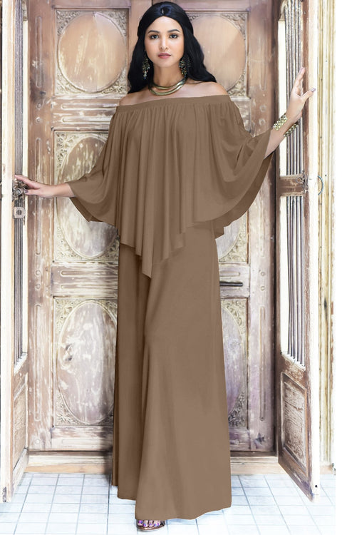 JENN - Maxi Dress Long Sexy Strapless Flowy Cocktail Evening Gown - Brown Latte / Small
