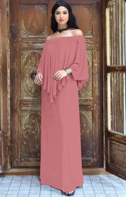 JENN - Maxi Dress Long Sexy Strapless Flowy Cocktail Evening Gown - Cinnamon Rose Pink / 2X Large