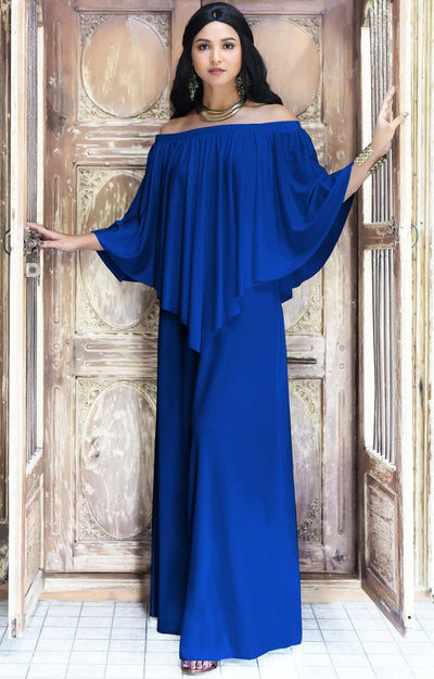 JENN - Maxi Dress Long Sexy Strapless Flowy Cocktail Evening Gown - Cobalt / Royal Blue / 2X Large