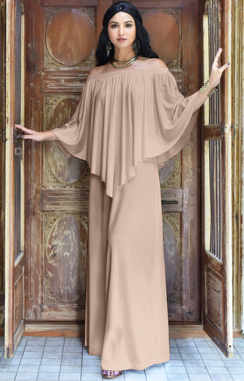 JENN - Maxi Dress Long Sexy Strapless Flowy Cocktail Evening Gown - Nude Champagne Brown / Small