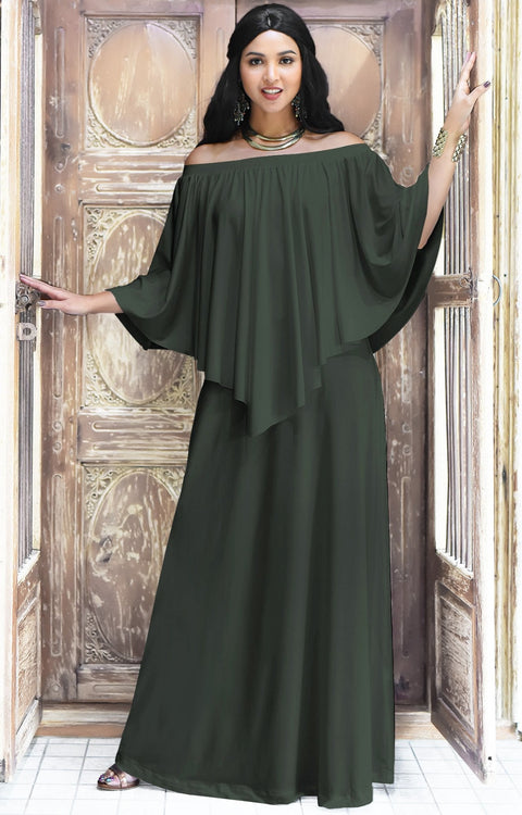 JENN - Maxi Dress Long Sexy Strapless Flowy Cocktail Evening Gown - Olive Green / 2X Large