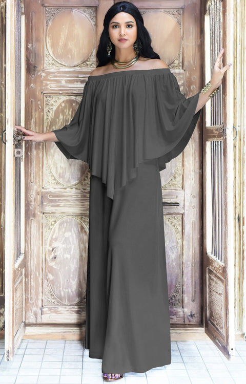 JENN - Maxi Dress Long Sexy Strapless Flowy Cocktail Evening Gown - Pewter Gray Grey / Small