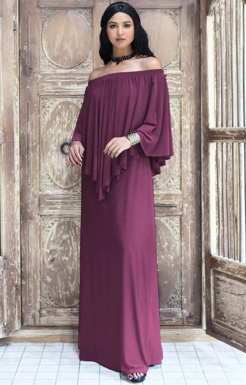 JENN - Maxi Dress Long Sexy Strapless Flowy Cocktail Evening Gown - Plum Dark Purple / 2X Large