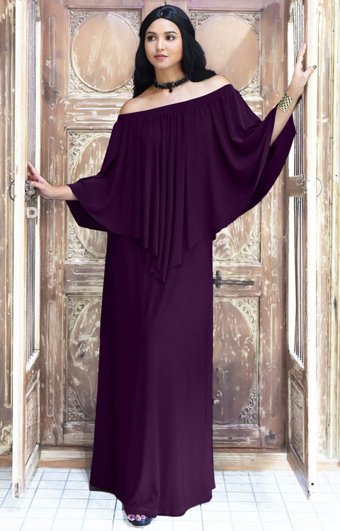 JENN - Maxi Dress Long Sexy Strapless Flowy Cocktail Evening Gown - Purple / 2X Large