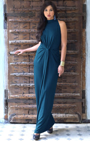JESSY - Long Travel Vacation Holiday Maxi Dress Summer Spring Beach - Blue Teal / 2X Large