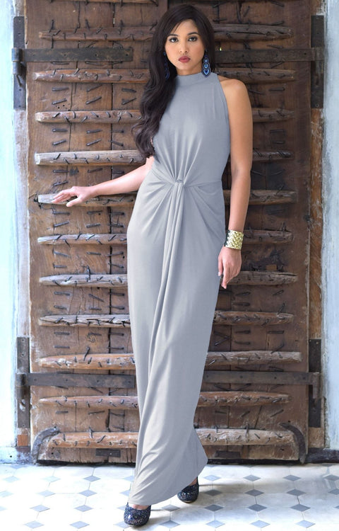 JESSY - Long Travel Vacation Holiday Maxi Dress Summer Spring Beach - Gray / Grey / 2X Large